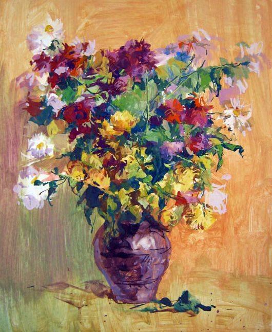 Натюрморт с цветами маслом поэтапно